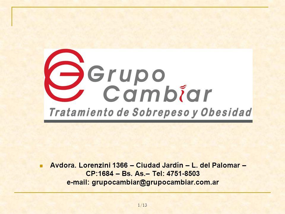 1/13 Avdora. Lorenzini 1366 – Ciudad Jardín – L. del Palomar – CP:1684 – Bs.
