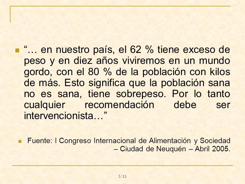 5/13 … en nuestro país, el 62 % tiene exceso de peso y en diez años viviremos en un mundo gordo, con el 80 % de la población con kilos de más.