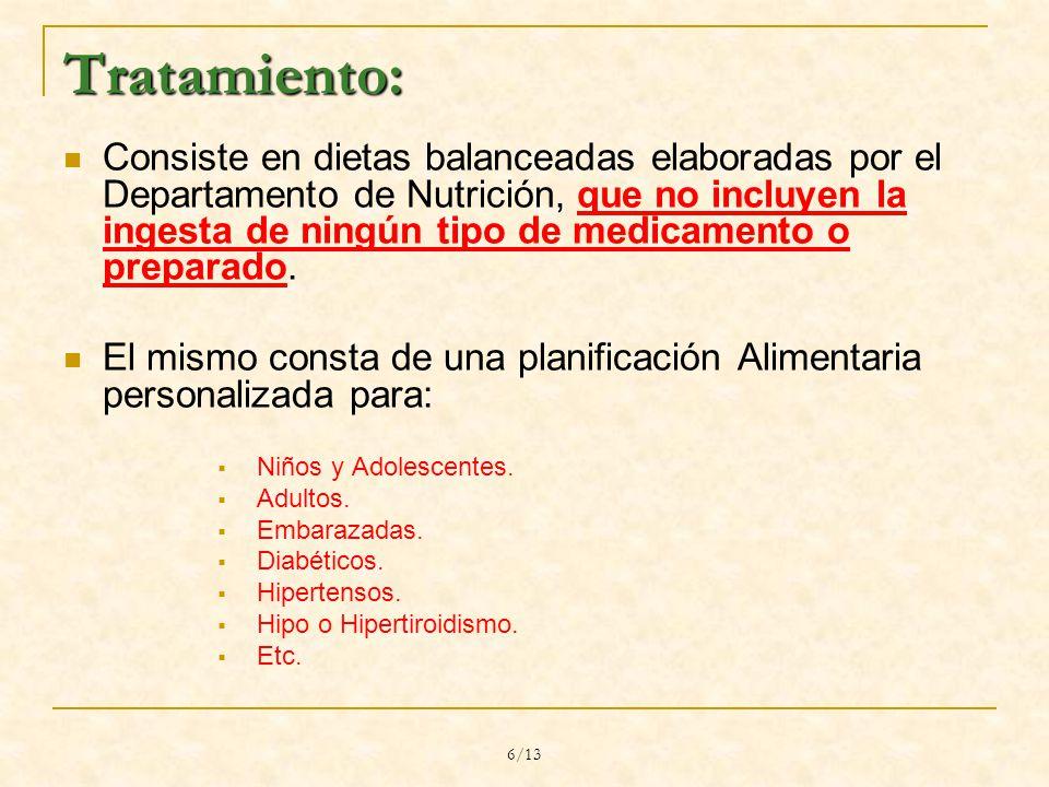 6/13 Tratamiento: Consiste en dietas balanceadas elaboradas por el Departamento de Nutrición, que no incluyen la ingesta de ningún tipo de medicamento o preparado.