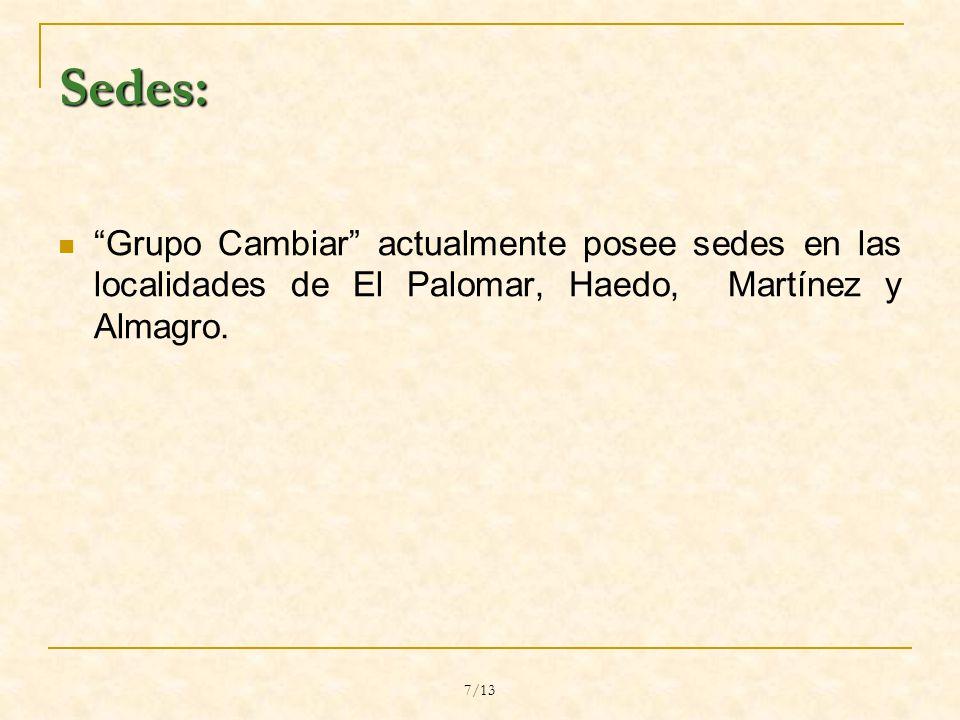 7/13 Sedes: Grupo Cambiar actualmente posee sedes en las localidades de El Palomar, Haedo, Martínez y Almagro.