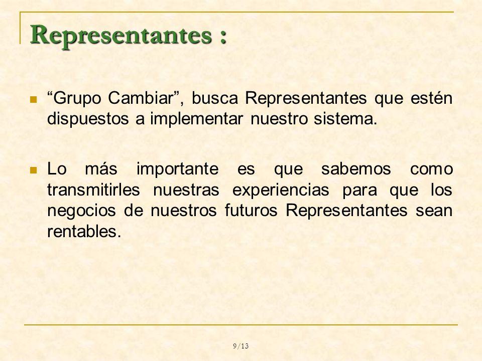 9/13 Representantes : Grupo Cambiar, busca Representantes que estén dispuestos a implementar nuestro sistema.