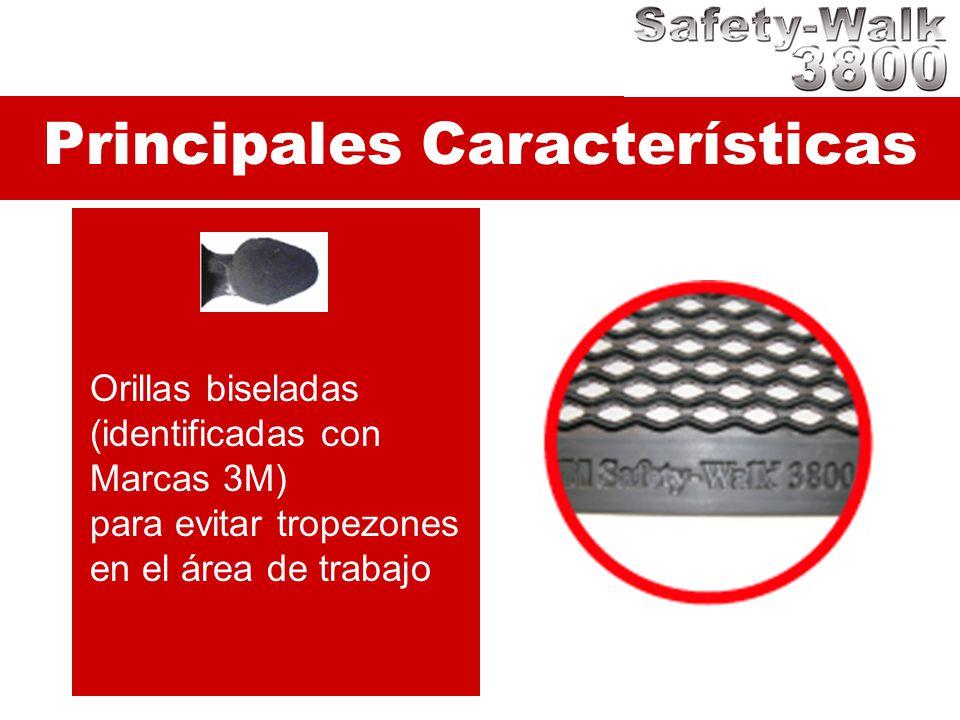 Principales Características Orillas biseladas (identificadas con Marcas 3M) para evitar tropezones en el área de trabajo