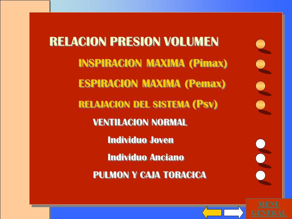 RELACION PRESION VOLUMEN INSPIRACION MAXIMA (Pimax) ESPIRACION MAXIMA (Pemax) RELAJACION DEL SISTEMA (Psv) VENTILACION NORMAL Individuo Joven Individuo Anciano PULMON Y CAJA TORACICA RELACION PRESION VOLUMEN INSPIRACION MAXIMA (Pimax) ESPIRACION MAXIMA (Pemax) RELAJACION DEL SISTEMA (Psv) VENTILACION NORMAL Individuo Joven Individuo Anciano PULMON Y CAJA TORACICA MENU GENERAL