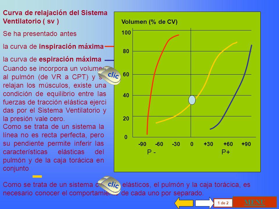 100 80 60 40 20 0 Volumen (% de CV) P+P - -90 -60 -30 0 +30 +60 +90 Curva de relajación del Sistema Ventilatorio ( sv ) Se ha presentado antes la curva de inspiración máxima la curva de espiración máxima Cuando se incorpora un volumen al pulmón (de VR a CPT) y se relajan los músculos, existe una condición de equilibrio entre las fuerzas de tracción elástica ejerci das por el Sistema Ventilatorio y la presión vale cero.