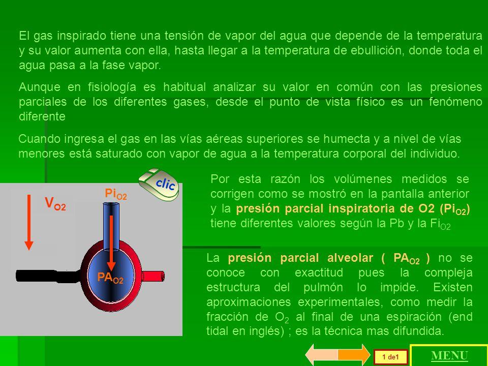 Para calcular la P O2 a nivel del mar Pp gas seco = 760 mmHg * 0.21= Pp gas húmedo = (760 - 47) * 0.21 = Para calcular la P O2 en Caracas, 1000 metros