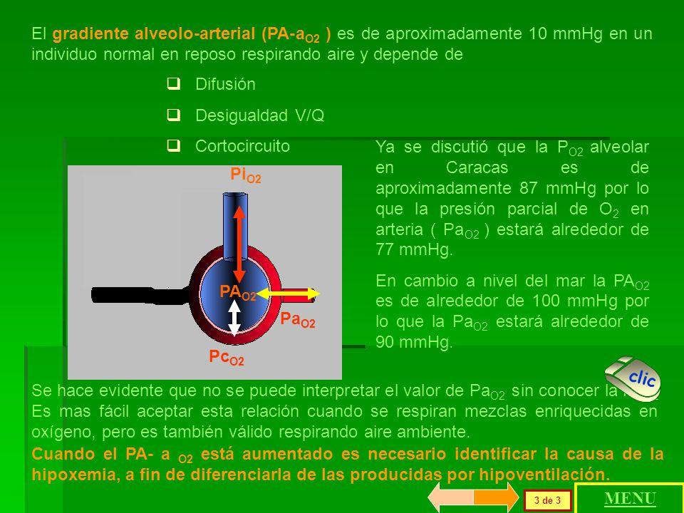 Pc O2 Pi O2 PA O2 El paso del oxígeno depende.del gradiente alveolo-capilar pulmonar ( PA-c O2 ) cuyo valor es de aproximadamente 60 mmHg. Pp alveolar