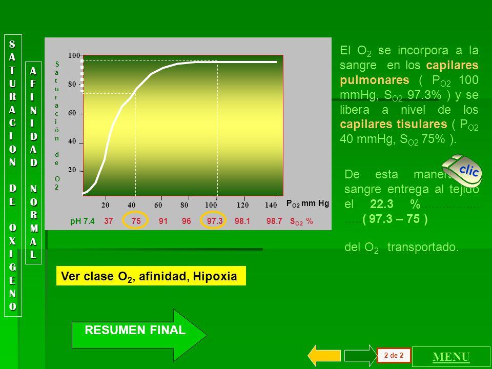 100 80 60 40 20 20 40 60 80 100 120 140 Saturación de O2 Saturación de O2 P O2 mm Hg Es indispensable entender que la relación descrita entre P O2 y S