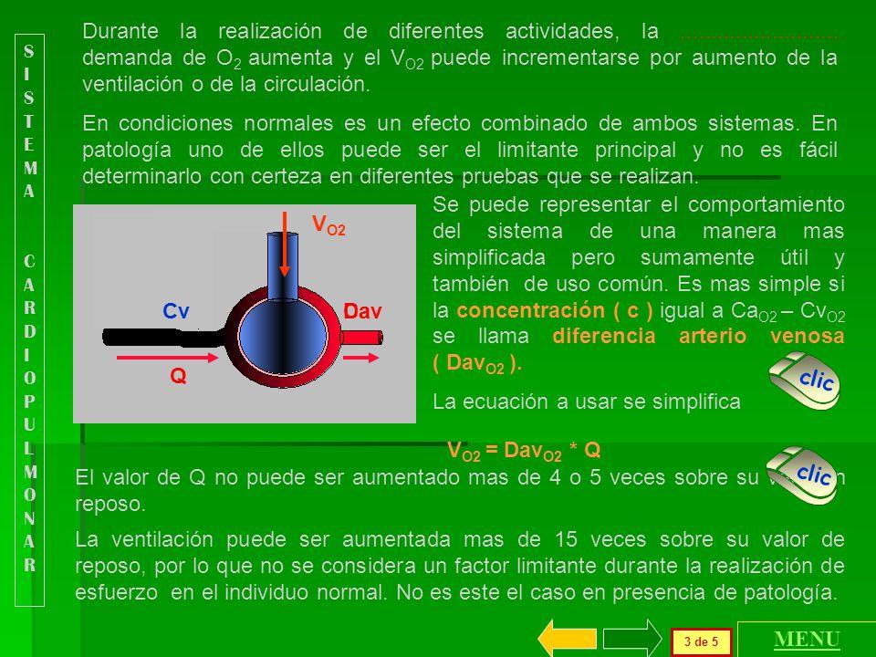 V O2 = Dav O2 * Q Durante la realización de diferentes actividades, la..........................