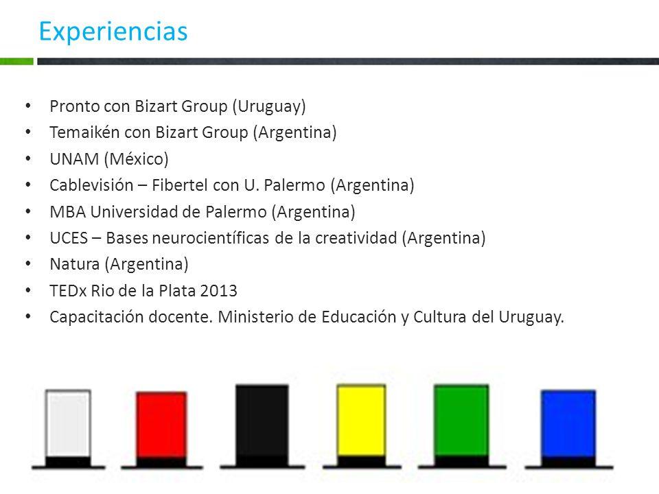 Experiencias Pronto con Bizart Group (Uruguay) Temaikén con Bizart Group (Argentina) UNAM (México) Cablevisión – Fibertel con U. Palermo (Argentina) M