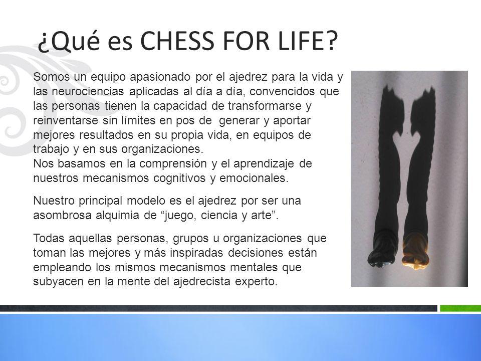 ¿Qué es CHESS FOR LIFE? Somos un equipo apasionado por el ajedrez para la vida y las neurociencias aplicadas al día a día, convencidos que las persona