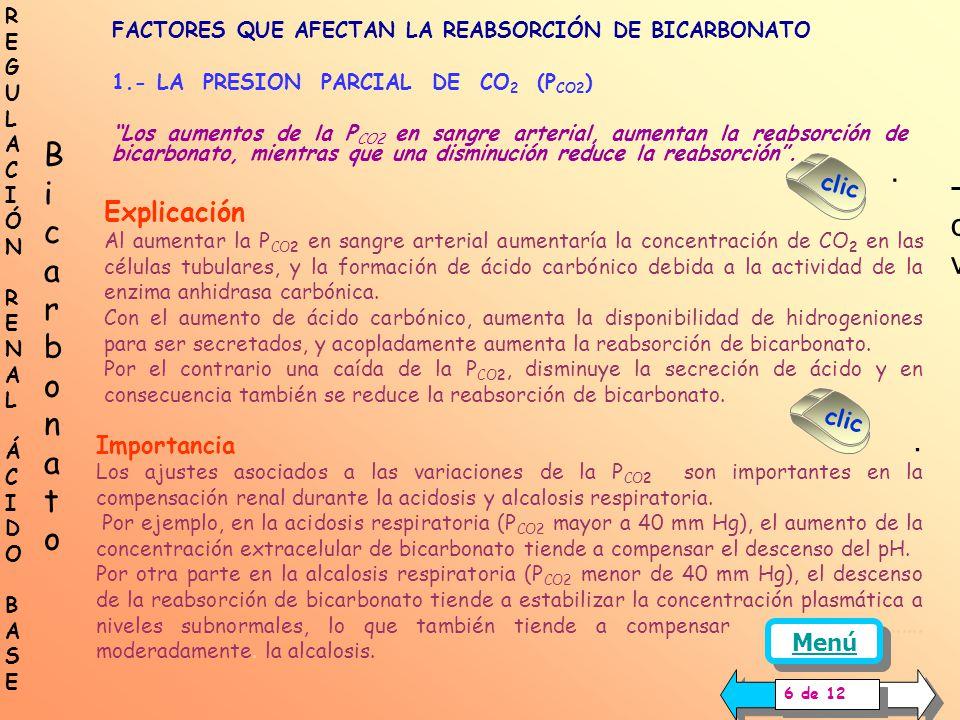 FACTORES QUE AFECTAN LA REABSORCIÓN DE BICARBONATO 1.- LA PRESIÓN PARCIAL DE DIÓXIDO DE CARBONO 2.- LA CONCENTRACIÓN PLASMÁTICA DE POTASIO 3.- LA DISM