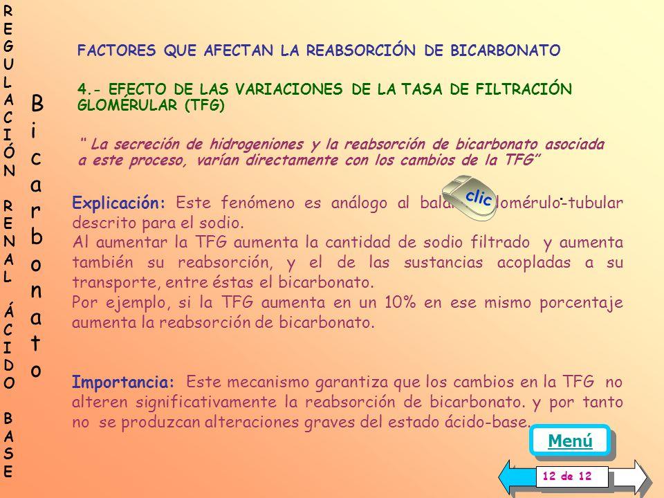 FACTORES QUE AFECTAN LA REABSORCIÓN DE BICARBONATO 3.- DISMINUCIÓN DE LA VOLEMIA y PÉRDIDA DE SAL La pérdida de sal, la cual va acompañada con la dism