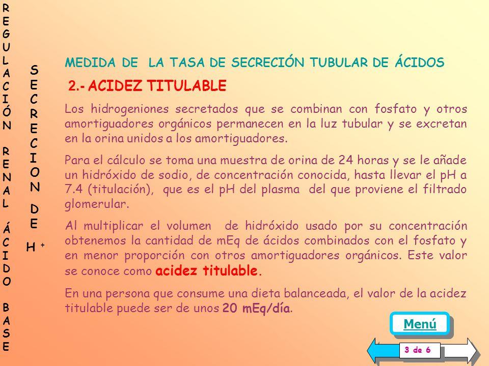 MEDIDA DE LA TASA DE SECRECIÓN TUBULAR DE ÁCIDOS 1.- BICARBONATO REABSORBIDO Debido a la presencia de la anhidrasa carbónica en la membrana de las cél