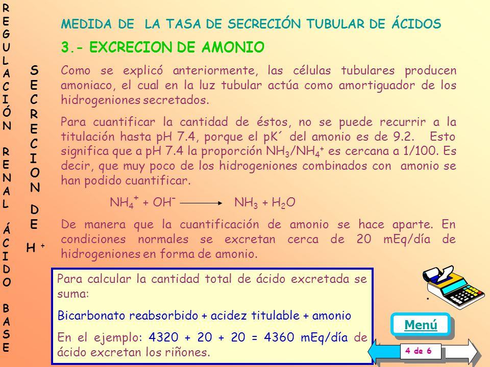 MEDIDA DE LA TASA DE SECRECIÓN TUBULAR DE ÁCIDOS 2.- ACIDEZ TITULABLE Los hidrogeniones secretados que se combinan con fosfato y otros amortiguadores