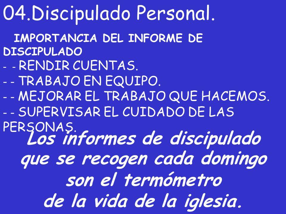 04.Discipulado Personal. IMPORTANCIA DEL INFORME DE DISCIPULADO - - RENDIR CUENTAS. - - TRABAJO EN EQUIPO. - - MEJORAR EL TRABAJO QUE HACEMOS. - - SUP