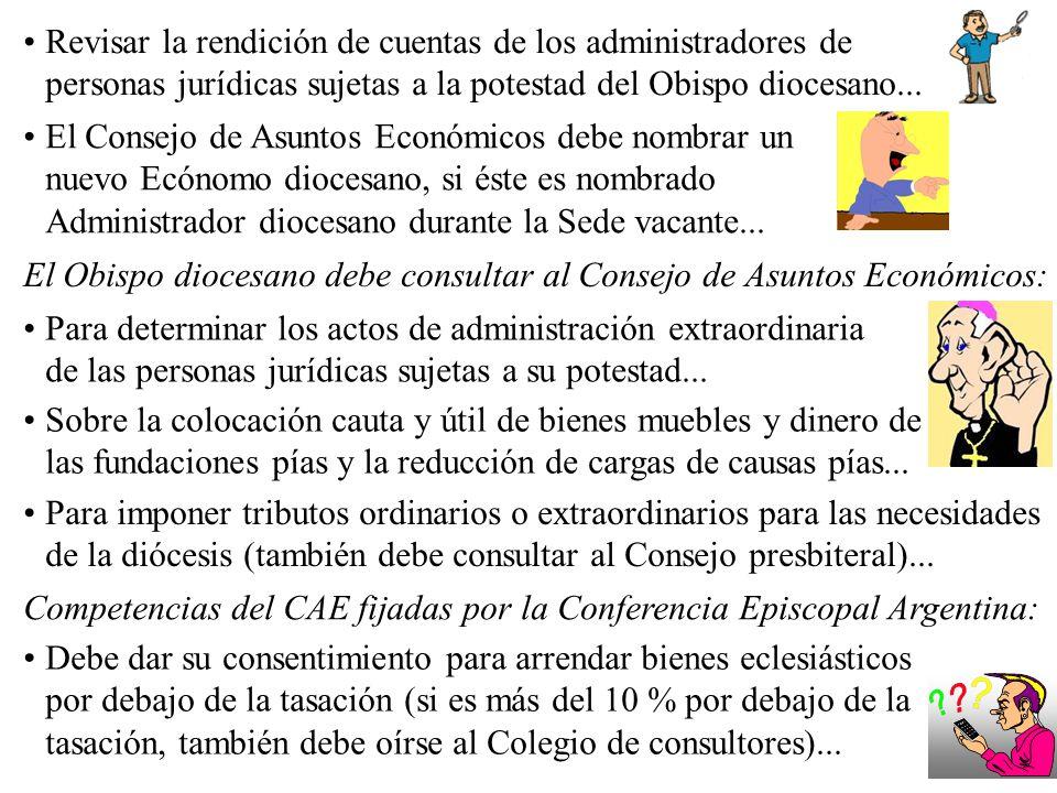 Revisar la rendición de cuentas de los administradores de personas jurídicas sujetas a la potestad del Obispo diocesano... Para determinar los actos d