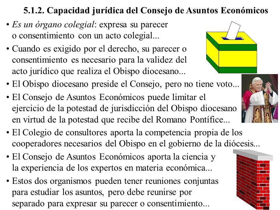 5.1.2. Capacidad jurídica del Consejo de Asuntos Económicos Es un órgano colegial: expresa su parecer o consentimiento con un acto colegial... Cuando
