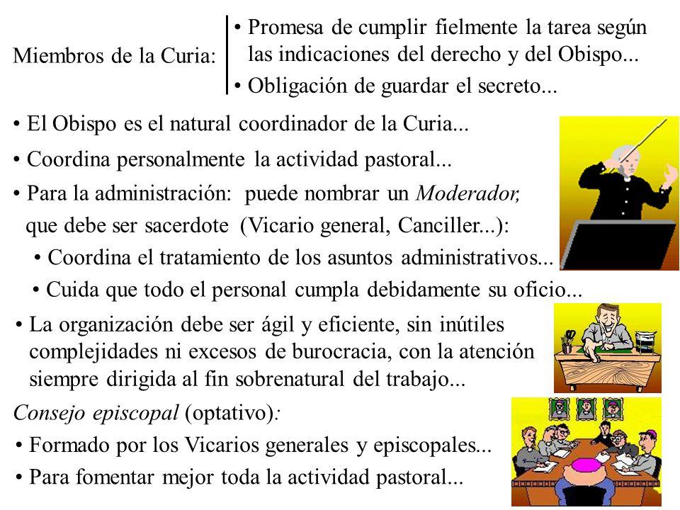El Obispo es el natural coordinador de la Curia... Coordina personalmente la actividad pastoral... Para la administración:puede nombrar un Moderador,