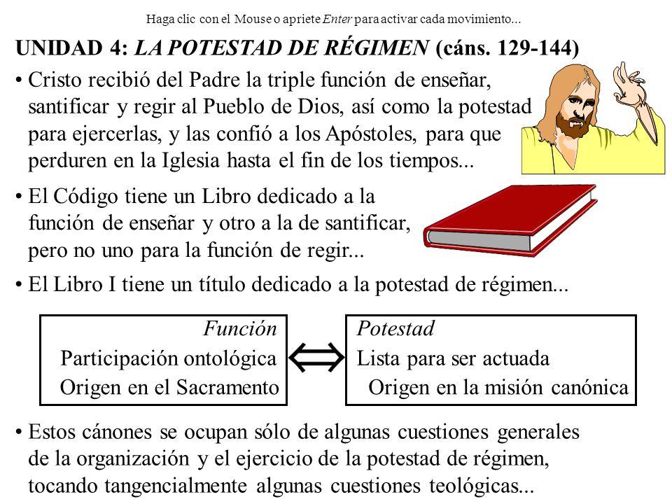 Origen en la misión canónicaOrigen en el Sacramento UNIDAD 4: LA POTESTAD DE RÉGIMEN (cáns. 129-144) Haga clic con el Mouse o apriete Enter para activ