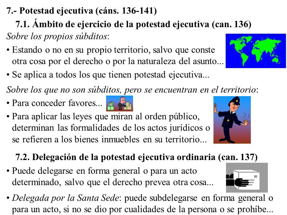7.- Potestad ejecutiva (cáns. 136-141) 7.1. Ámbito de ejercicio de la potestad ejecutiva (can. 136) Sobre los propios súbditos: Estando o no en su pro
