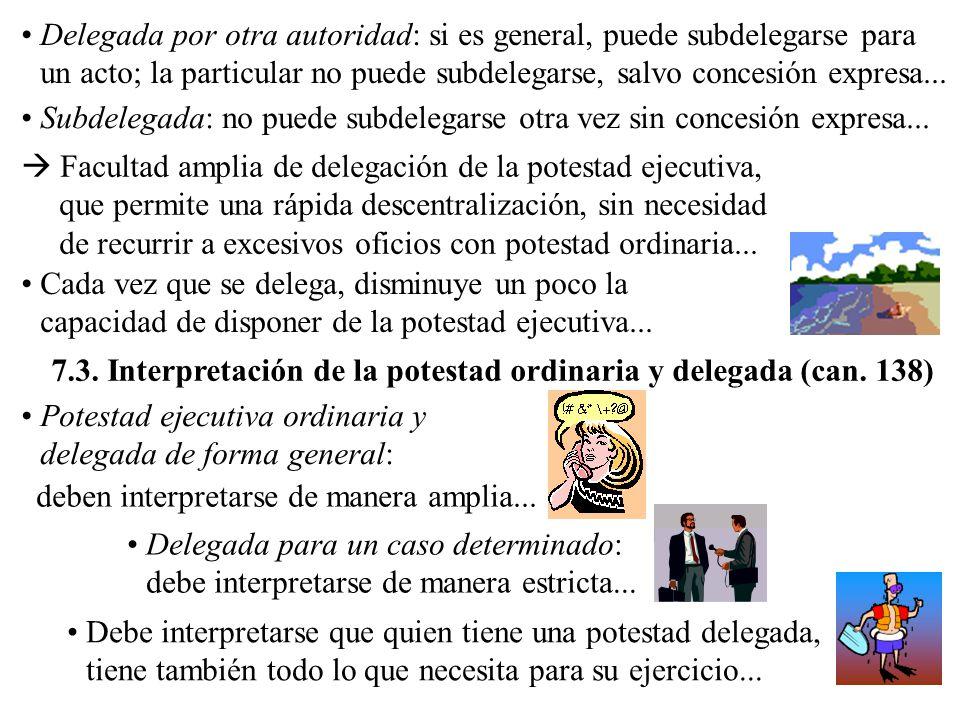 Potestad ejecutiva ordinaria y delegada de forma general: Delegada por otra autoridad: si es general, puede subdelegarse para un acto; la particular n