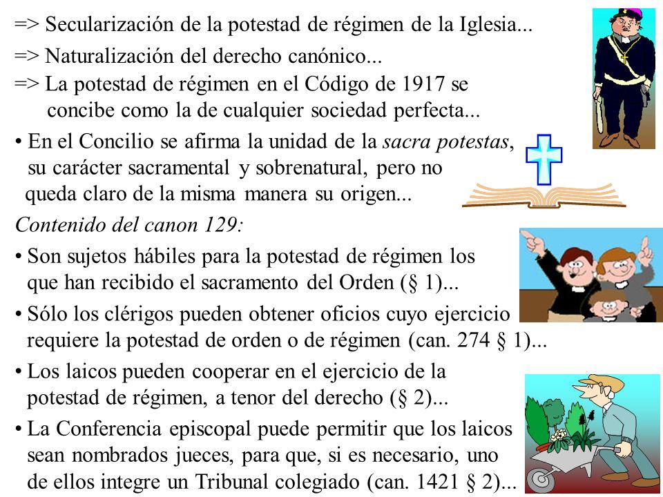 => Secularización de la potestad de régimen de la Iglesia... => Naturalización del derecho canónico... => La potestad de régimen en el Código de 1917