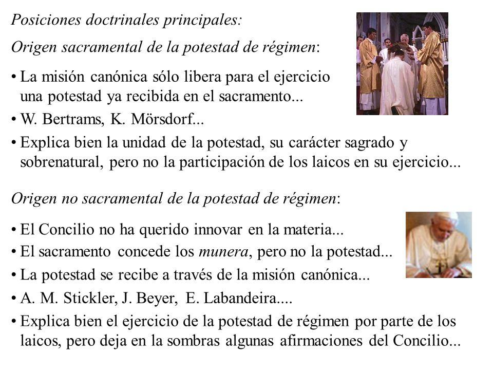 Posiciones doctrinales principales: Origen sacramental de la potestad de régimen: La misión canónica sólo libera para el ejercicio una potestad ya rec