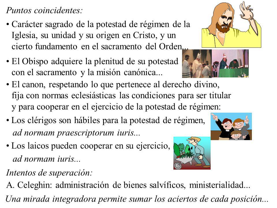 Puntos coincidentes: Carácter sagrado de la potestad de régimen de la Iglesia, su unidad y su origen en Cristo, y un cierto fundamento en el sacrament