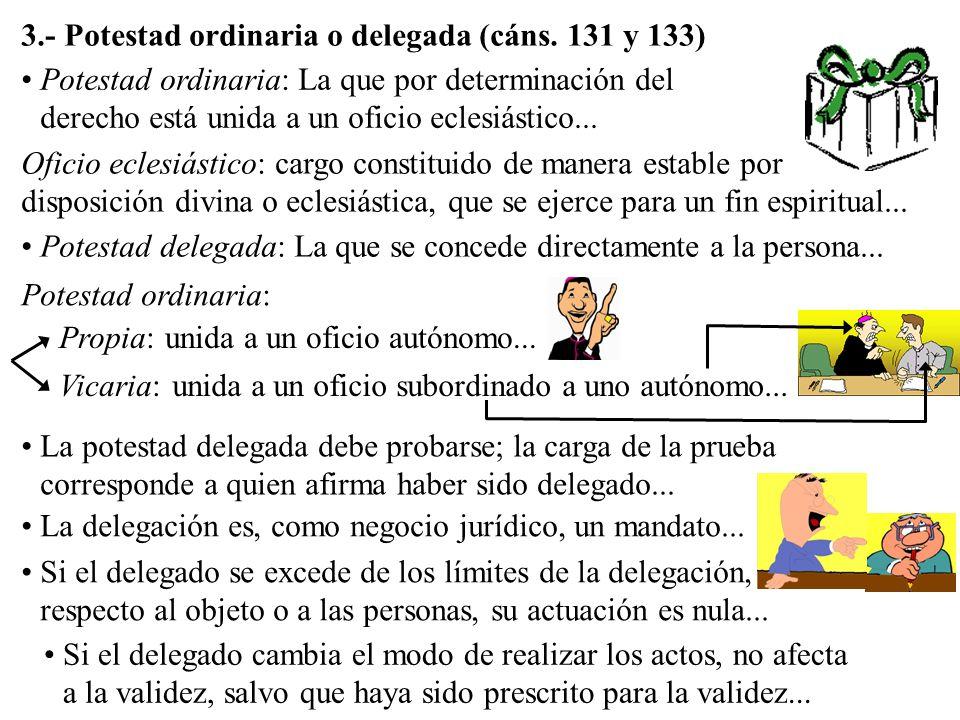 3.- Potestad ordinaria o delegada (cáns. 131 y 133) Potestad ordinaria: La que por determinación del derecho está unida a un oficio eclesiástico... Of
