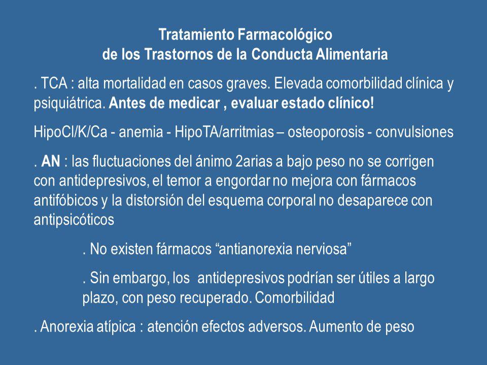Tratamiento Farmacológico de los Trastornos de la Conducta Alimentaria. TCA : alta mortalidad en casos graves. Elevada comorbilidad clínica y psiquiát