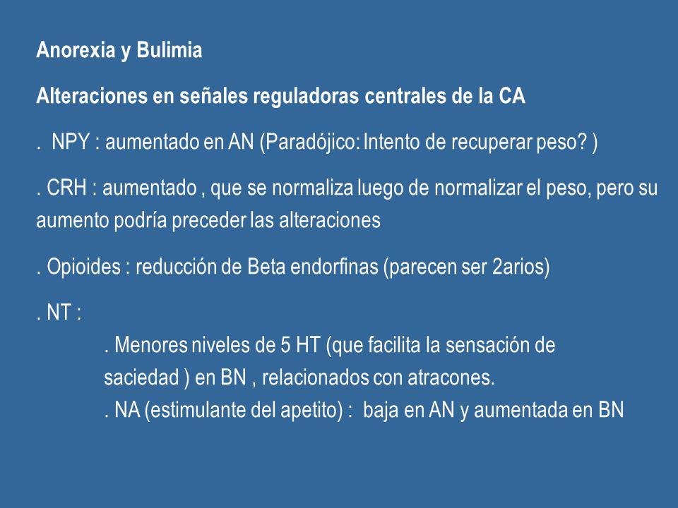 Anorexia y Bulimia Alteraciones en señales reguladoras centrales de la CA. NPY : aumentado en AN (Paradójico: Intento de recuperar peso? ). CRH : aume