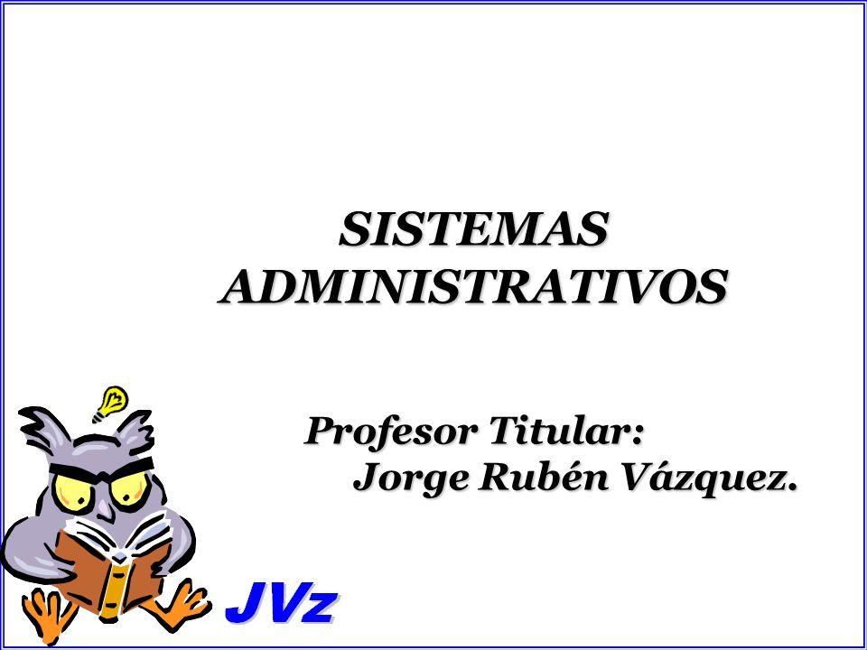 SISTEMAS ADMINISTRATIVOS Profesor Titular: Jorge Rubén Vázquez.