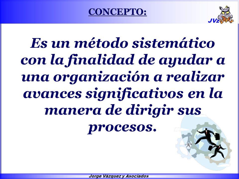 Jorge Vázquez y Asociados CONCEPTO: Es un método sistemático con la finalidad de ayudar a una organización a realizar avances significativos en la manera de dirigir sus procesos.