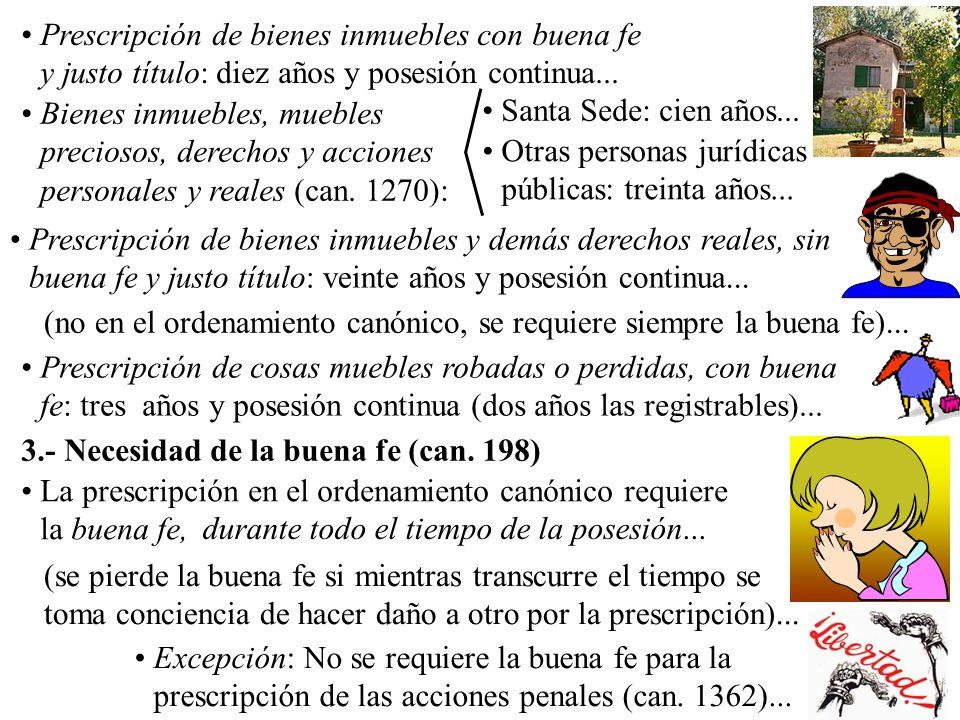 4.- Derechos y obligaciones no prescriptibles (can.