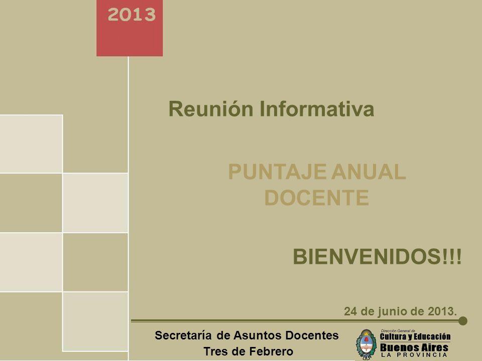 Secretaría de Asuntos Docentes Tres de Febrero PUNTAJE ANUAL DOCENTE F I N!.