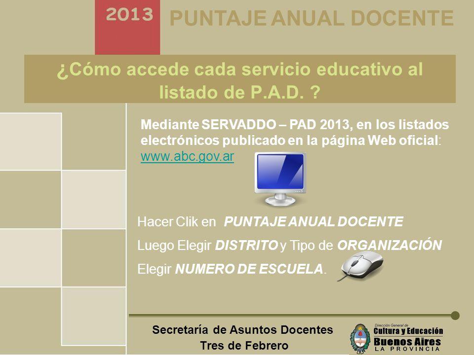 Secretaría de Asuntos Docentes Tres de Febrero PUNTAJE ANUAL DOCENTE ¿Cómo reclamar el PAD 2013.