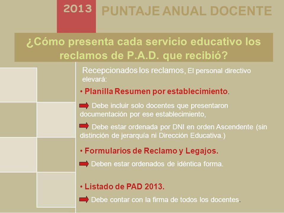 Secretaría de Asuntos Docentes Tres de Febrero PUNTAJE ANUAL DOCENTE ¿ Cómo presenta cada servicio educativo los reclamos de P.A.D.