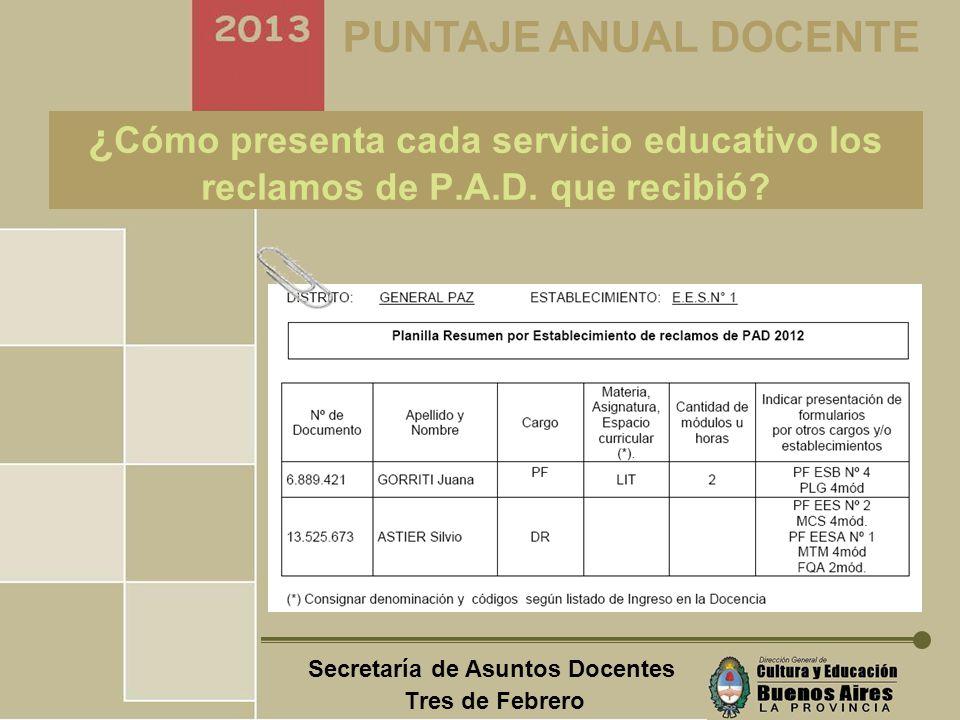Secretaría de Asuntos Docentes Tres de Febrero PUNTAJE ANUAL DOCENTE ¿ Cuando presenta cada servicio educativo los de P.A.D.