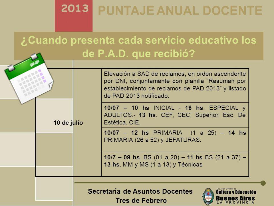 Secretaría de Asuntos Docentes Tres de Febrero PUNTAJE ANUAL DOCENTE ¿Cómo presenta cada docente su reclamo de PAD 2013.