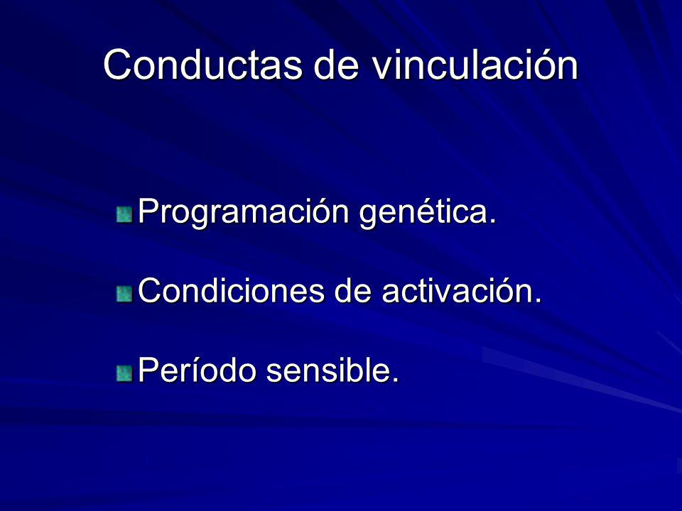 Conductas de vinculación Programación genética. Condiciones de activación. Período sensible.