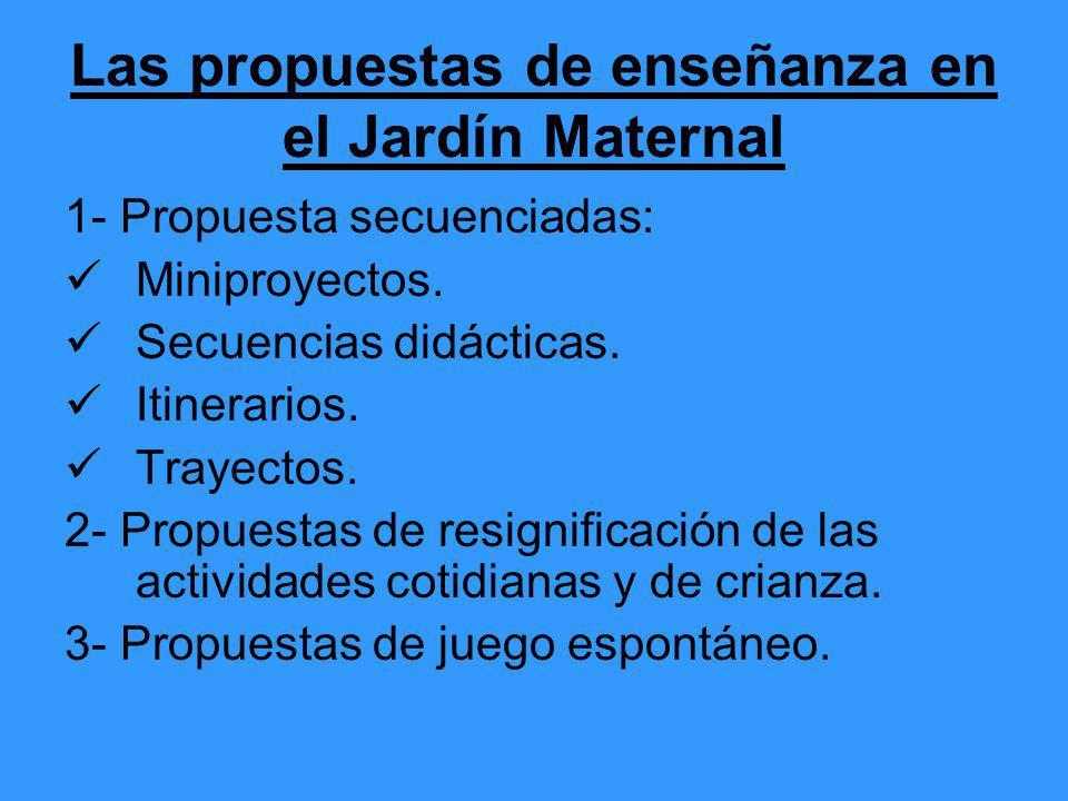 Las propuestas de enseñanza en el Jardín Maternal 1- Propuesta secuenciadas: Miniproyectos. Secuencias didácticas. Itinerarios. Trayectos. 2- Propuest