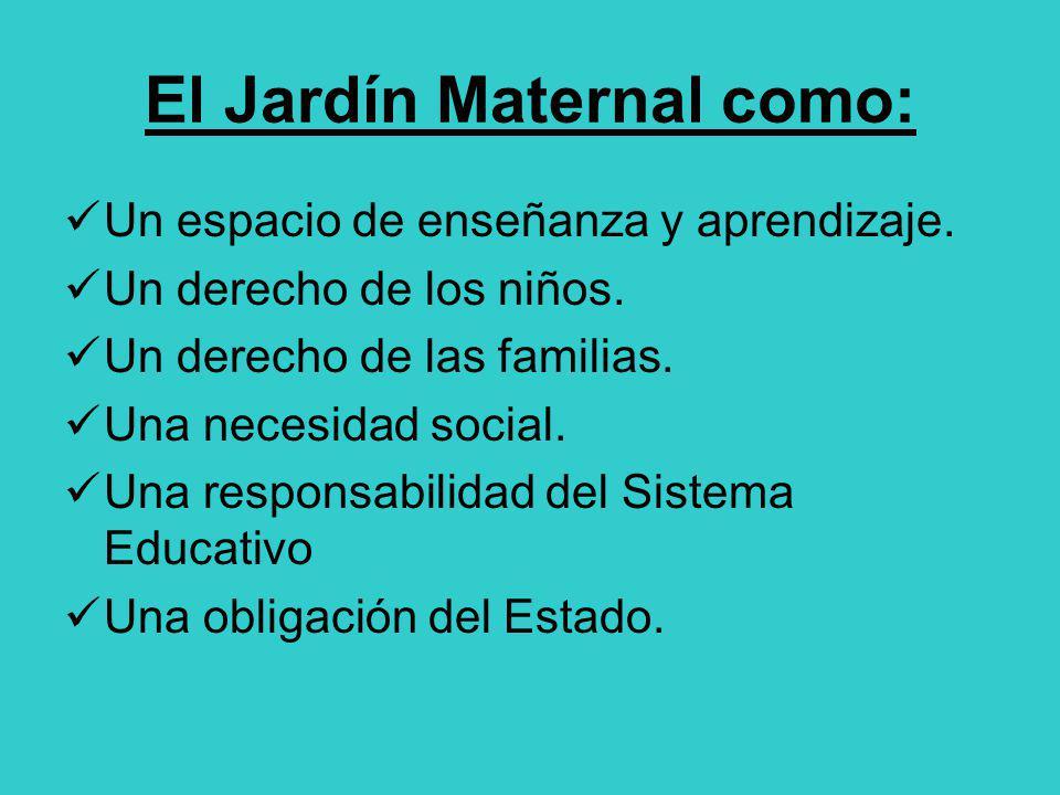 El Jardín Maternal como: Un espacio de enseñanza y aprendizaje. Un derecho de los niños. Un derecho de las familias. Una necesidad social. Una respons