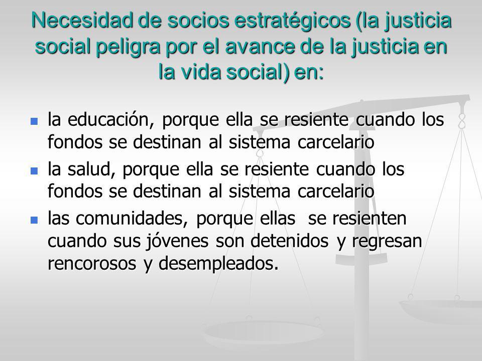 Necesidad de socios estratégicos (la justicia social peligra por el avance de la justicia en la vida social) en: la educación, porque ella se resiente