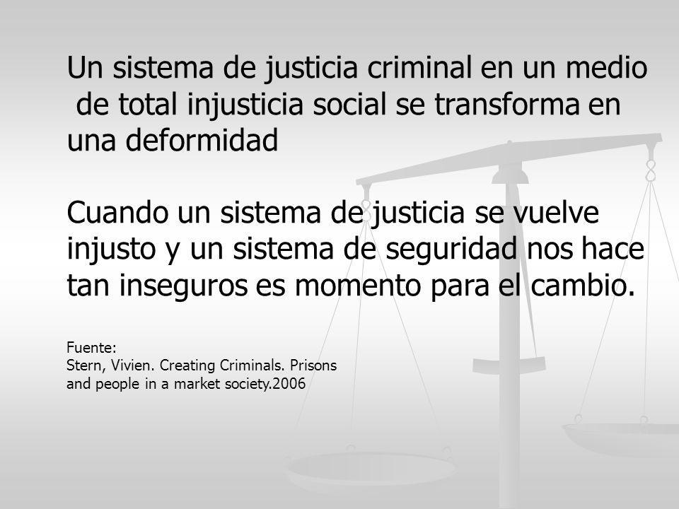 Un sistema de justicia criminal en un medio de total injusticia social se transforma en una deformidad Cuando un sistema de justicia se vuelve injusto
