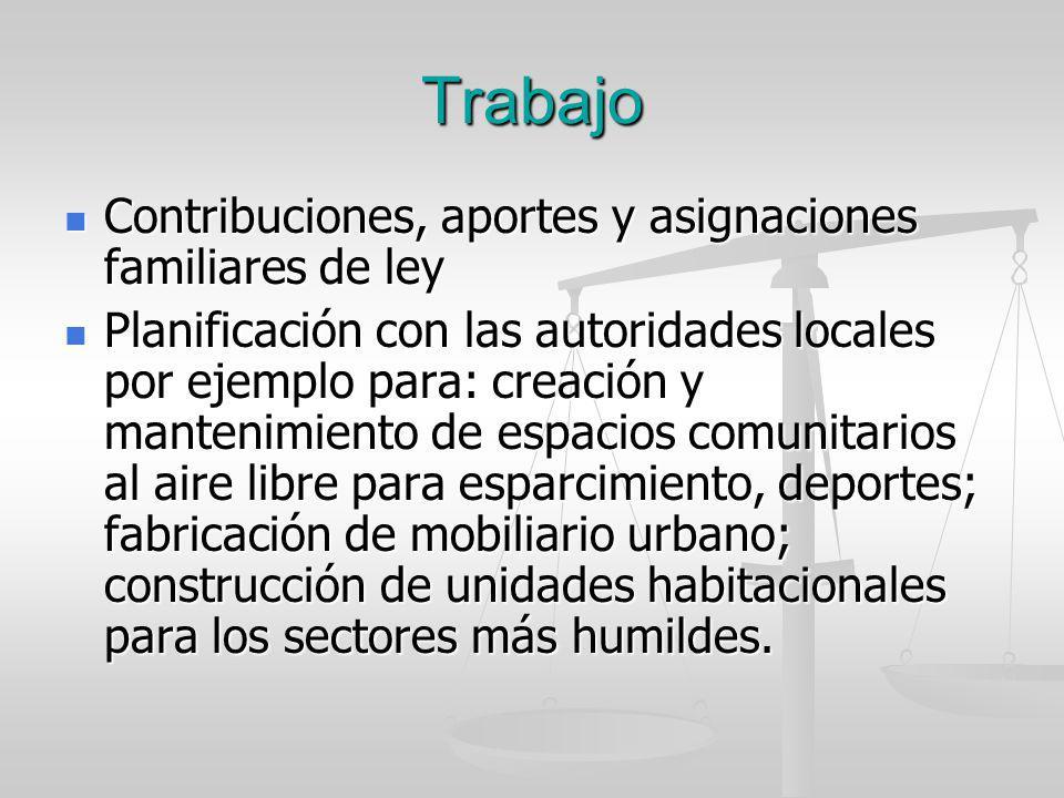 Trabajo Contribuciones, aportes y asignaciones familiares de ley Contribuciones, aportes y asignaciones familiares de ley Planificación con las autori