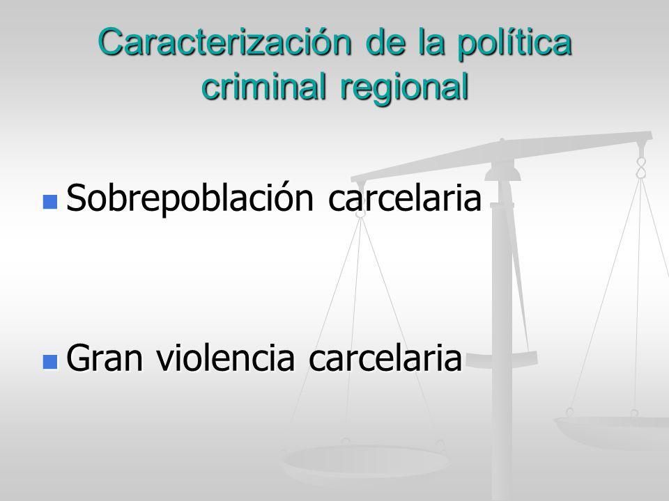 Caracterización de la política criminal regional Sobrepoblación carcelaria Sobrepoblación carcelaria Gran violencia carcelaria Gran violencia carcelar