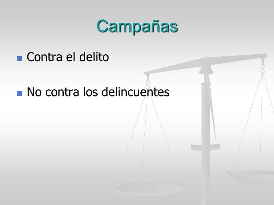 Campañas Contra el delito Contra el delito No contra los delincuentes No contra los delincuentes