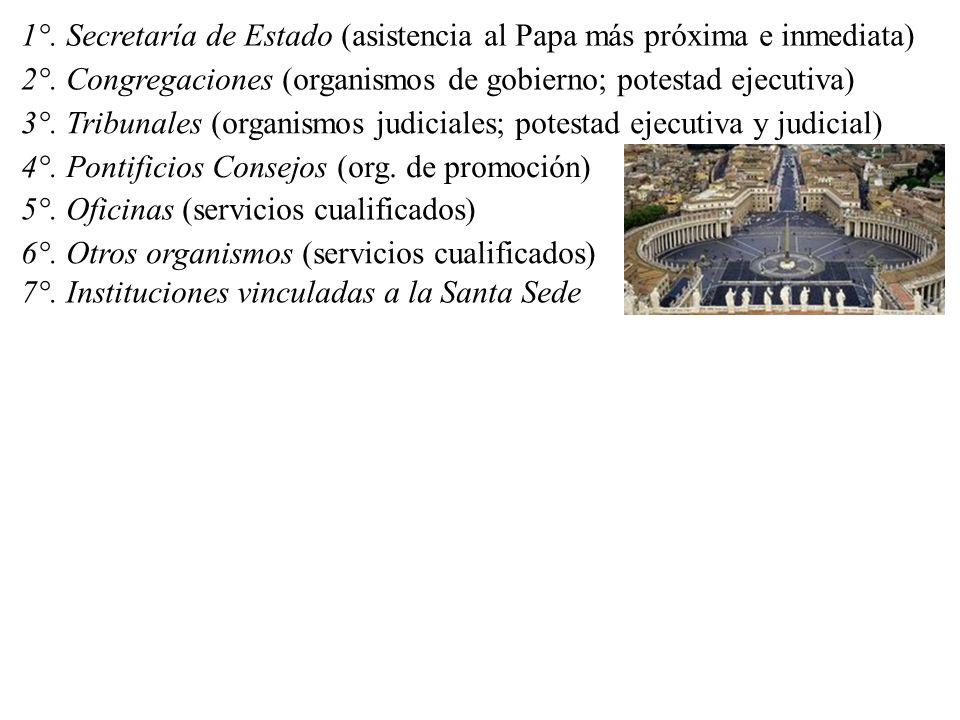 1°. Secretaría de Estado (asistencia al Papa más próxima e inmediata) 2°.