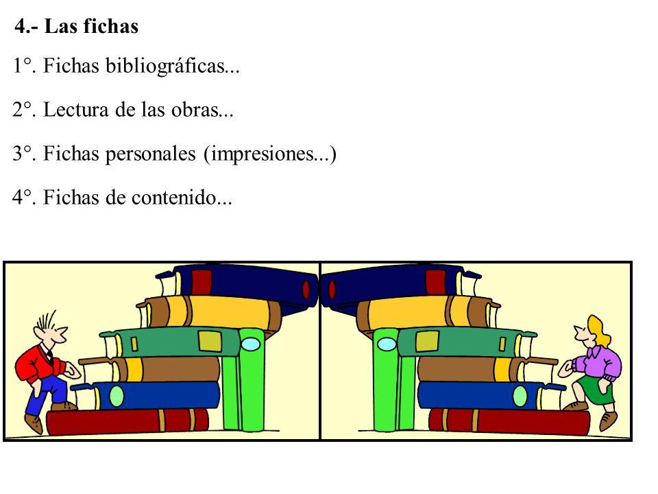 1°. Fichas bibliográficas... 2°. Lectura de las obras... 3°. Fichas personales (impresiones...) 4°. Fichas de contenido... 4.- Las fichas
