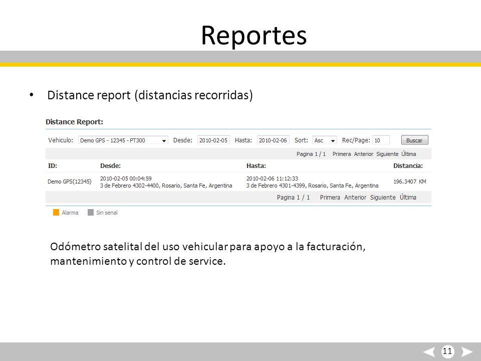 Reportes Distance report (distancias recorridas) Odómetro satelital del uso vehicular para apoyo a la facturación, mantenimiento y control de service.